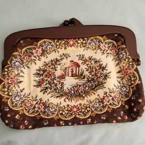 Vintage Tapestry Purse Made In Hong Kong Beautiful